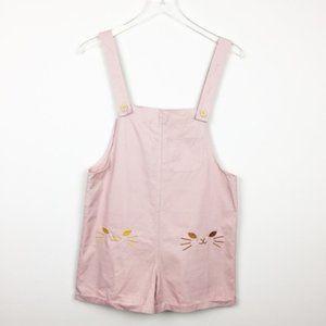 Vintage | Pink Embroidered Cat Romper